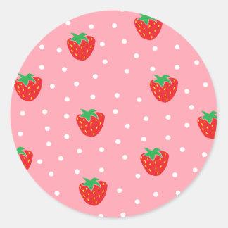 Fresas y rosa de los lunares pegatina redonda