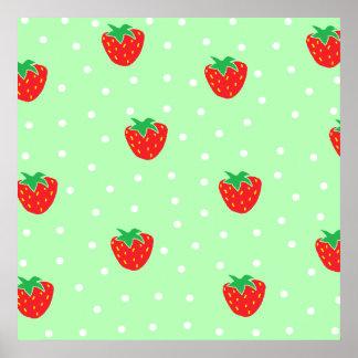 Fresas y verde menta de los lunares póster