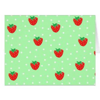 Fresas y verde menta de los lunares tarjeton