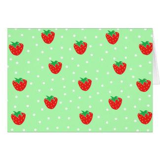 Fresas y verde menta de los lunares tarjeta