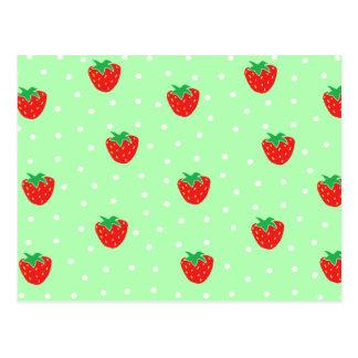 Fresas y verde menta de los lunares postal
