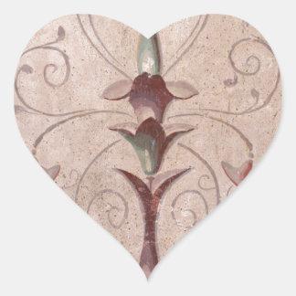 Fresco 2 de Pompeya Pegatina En Forma De Corazón
