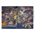 Fresco celestial de la astronomía del vintage, tarjeta de felicitación