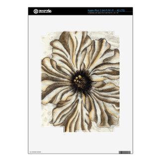 Fresco de Flowerhead en fondo del moreno Pegatinas Skins Para iPad 3