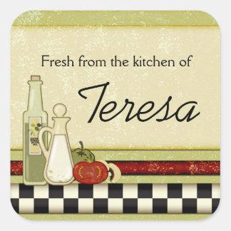 Fresco de la cocina de pegatinas de encargo calcomania cuadradas personalizadas
