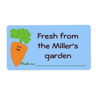 Fresco de la etiqueta de la producción del jardín etiquetas de envío