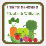 Fresco de las frutas y de los Veggies de la cocina Pegatina Cuadrada