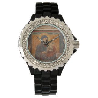 Fresco de Madonna y del niño Reloj De Mano