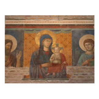Fresco de Madonna y del niño Tarjetas Postales