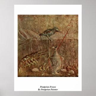 Fresco de Pompeian del pintor de Pompeian Póster