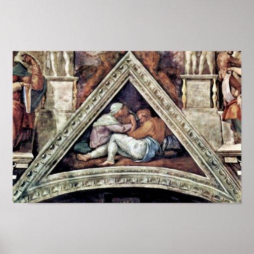 Fresco del techo para la historia de la creación e póster