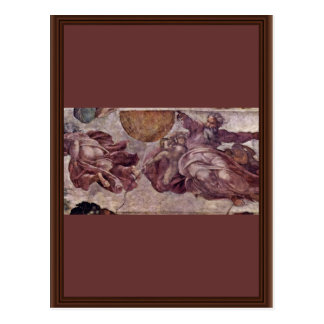 Fresco In The Sistine Chapel. The Creation Of The Postcard