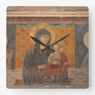 Fresco Of Madonna And Child Square Wall Clock