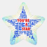 Fresco usted es pegatinas de una tipografía de la colcomanias forma de estrella