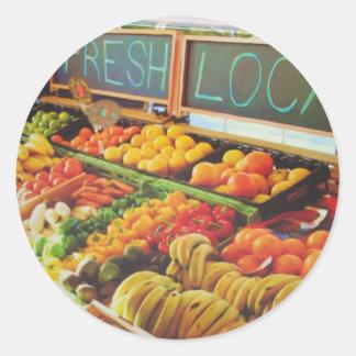 Fresco y local etiquetas redondas