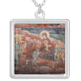 Frescoes from the 14th Century Serbian Church, Silver Plated Necklace