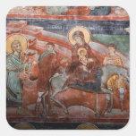 Frescos de la iglesia servia del siglo XIV, Pegatina Cuadrada