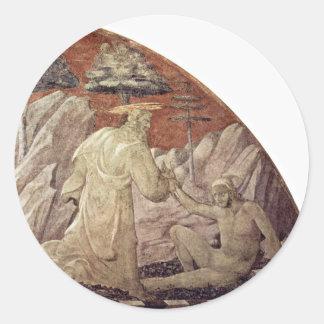 Frescos del viejo testamento en génesis en el pegatina redonda