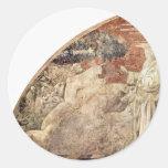 Frescos del viejo testamento en génesis en el etiqueta redonda