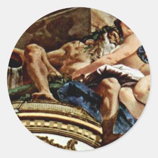 Frescos en el Pasillo imperial del castillo Pegatina Redonda