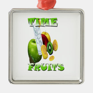 Frescura natural de la fruta adorno navideño cuadrado de metal
