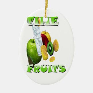 Frescura natural de la fruta adorno navideño ovalado de cerámica