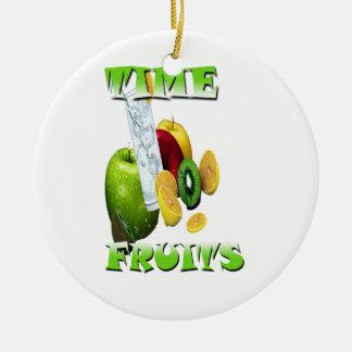 Frescura natural de la fruta adorno navideño redondo de cerámica