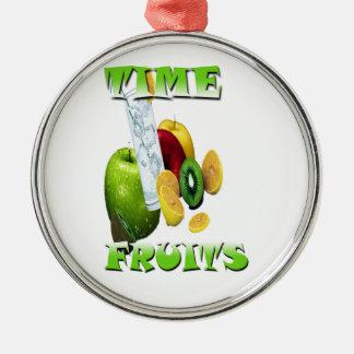 Frescura natural de la fruta adorno navideño redondo de metal