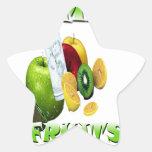 Frescura natural de la fruta calcomanías forma de estrellaes