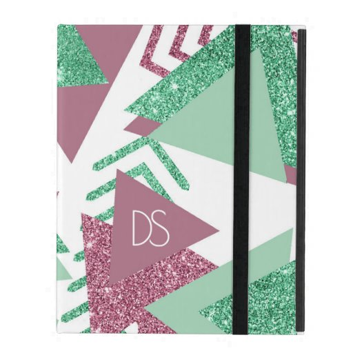 Fresh 90s Abstract | Pink and Green Shape Monogram iPad Case