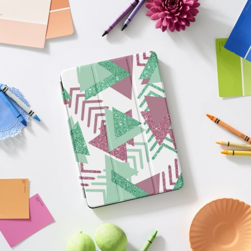 Fresh 90s Abstract | Pink and Green Shapes Pattern iPad Pro Cover