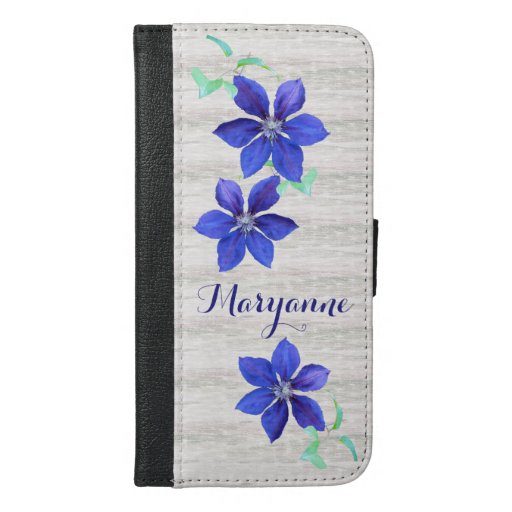 Fresh and Beautiful Purple Clematis Flowers iPhone 6/6s Plus Wallet Case