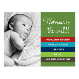 Fresh and Colorful Birth Announcement - Baby Boy Postcard