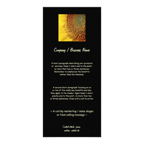 Fresh and Golden Sunflower Rack Card