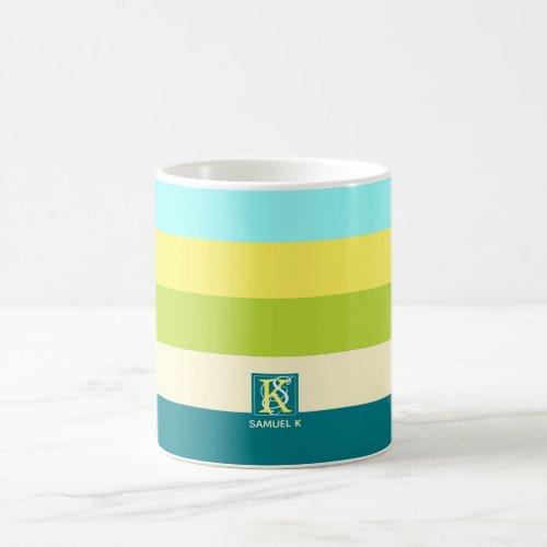 Fresh and Happy Colorful Stripes Monogram Coffee Mug