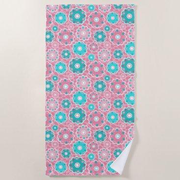 Beach Themed Fresh and modern pink  & aqua floral beach towel