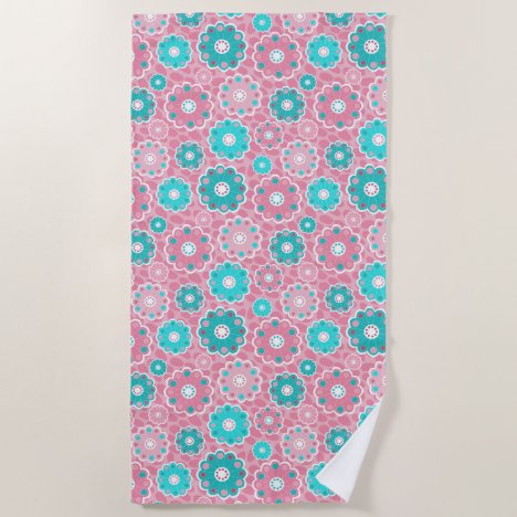Fresh and modern pink  & aqua floral beach towel