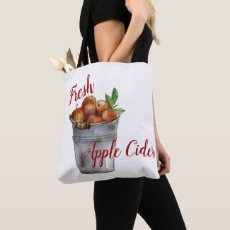 """Fresh Apple Cider"" Bucket of Autumn Apples Tote"