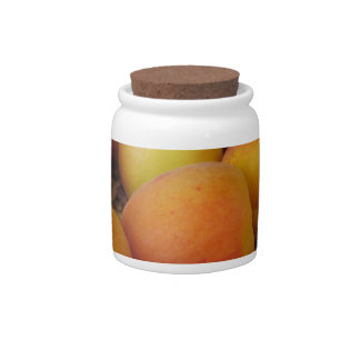 Fresh apricots in a wicker basket on white candy jar