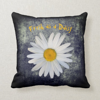 Fresh as a Daisy on Black and White texture Throw Pillow