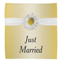 Fresh As A White & Yellow Daisy Flower Wedding Bandana