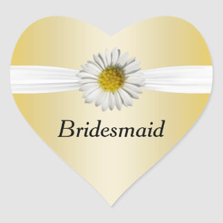 Fresh As A White & Yellow Daisy Flower Wedding Heart Stickers