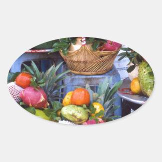 Fresh Asian Fruits Oval Sticker