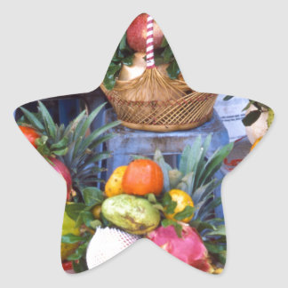 Fresh Asian Fruits Star Sticker