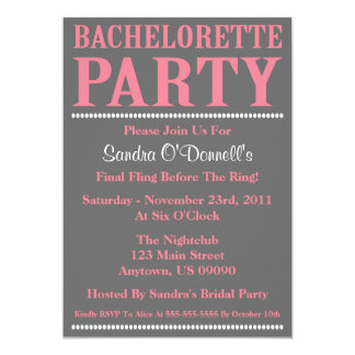 Fresh Bachelorette Party Invitations (Pink / Gray)