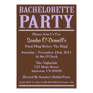 Fresh Bachelorette Party Invitations Violet/Brown