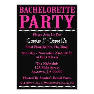 "Fresh Bachelorette Party Invites (Hot Pink/Black) 5"" X 7"" Invitation Card"