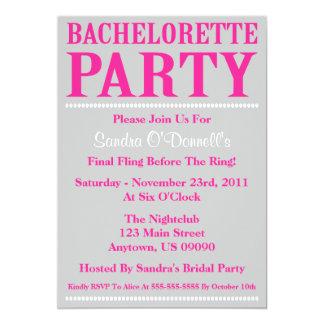 "Fresh Bachelorette Party Invites (Hot Pink/Silver) 5"" X 7"" Invitation Card"