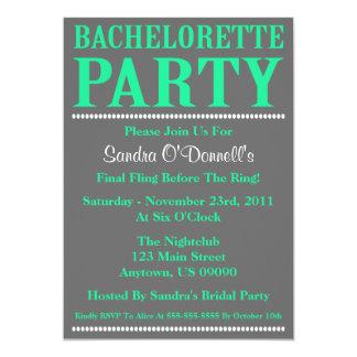 """Fresh Bachelorette Party Invites (Sea Green/Gray) 5"""" X 7"""" Invitation Card"""