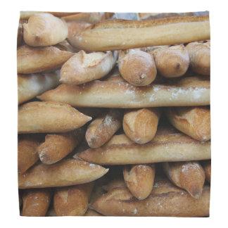 Fresh baguettes at a market bandana